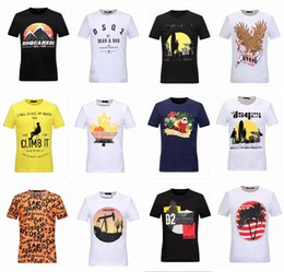 Wholesale Gradient Color Tops - 2017 NEW Hot T-Shirt Men Round Collar Short Sleeve Cotton Jersery DSQ2 Tee Shirt Men's Print Casual Tops 3D