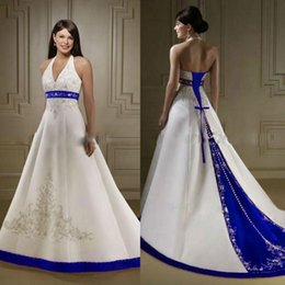 Wholesale Halter Beaded Wedding Gown - Custom Made White And Blue Satin A Line Wedding Dresses 2017 Halter Neck Embroidery Beaded Chapel Train Vintage Country Bridal Wedding Gowns