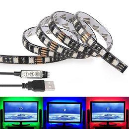 Wholesale Led Light Strip Coloured - 1M 3.28Ft Multi-colour Flexible 5V USB LED Strip 30leds 5050 RGB LED Strip Light with Mini Controller For TV PC Laptop Background Lighting