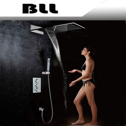 Wholesale Square Tap Shower Tub - In wall barhtoom thermostatic Tub mixer faucet with wider waterfall raindance Tap and hand shower 8019A-3