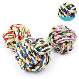 Wholesale Dog Ball Rope Toys - 7Cm Diameter 80G Dogs Toy Ball Mixed Color Woven Knots Teeth Grinding Cotton Ropes Perfect For Dogs Training Playing