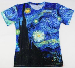 Wholesale Night Paintings - Classic Oil Painting Newest Fashion Mens Womans Vincent Van Gogh Starry Night Vintage T-Shirt Funny Unisex 3D Print Casual T-Shirt AA262