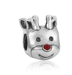 Wholesale Xmas Charms - Fits Pandora Bracelets 30pcs Christmas Elk Head Silver Charm Bead Loose Beads For Wholesale Diy European Sterling Necklace Jewelry Xmas