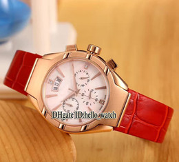 Wholesale Cheap Womens Gold Watches - Super Clone Brand Luxury Polo Fashion White Dial VK Japan Quartz Chronograph Womens Watch Rose Gold Red Leather Strap Lady Cheap Watches
