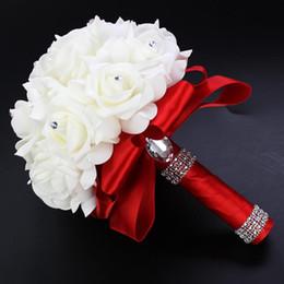 Wholesale Luxury Purple Bridal Bouquets - 2016 Wedding Flowers Bridal Bouquets Red Artificial Rose Luxury Diamond Crystal Bouquet Wedding Bling Brides Ramo De Novia