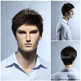 Wholesale Short Brown Men Curly Wig - Free Shipping Dark Brown Short Straight Mens wigs Discount Charming Business men wigs Men exquisite short hair wigs