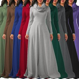 Wholesale Long Sleeved Chiffon Maxi Dress - Plus Size S -XXL Ladies Cowl Neck Long Sleeved Autumn Fashion Swing Long Maxi Dress Womens Fall Dresses
