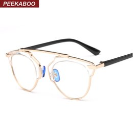 Wholesale Top Brand Eyeglasses Wholesale - Wholesale- Peekaboo Fashion transparent eyeglass frames female women flat top metal brand anti blue computer glasses clear gold UV gafas