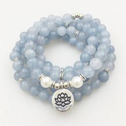 SN1205 Design Women `s 8 mm Blue Stone 108 Mala borda il braccialetto o la collana Lotus Charm Yoga Bracelet Spedizione gratuita da