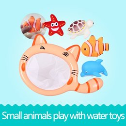Wholesale Net Floats - Floating Cute Animal Bath Time Bath Toys Children Toddle with Net Children Play Fishing Catch and Release Baby Toy Spray Squeeze Sound