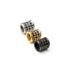Wholesale Wholesale Cubic Zirconia Connectors - Trendy Copper Micro Pave Cubic Zirconia Black Crystal Tube Beads For Women Jewelry Making Diy Charm Hollow Space Beads 7*8mm