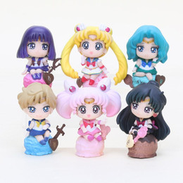 Wholesale Anime Action Figures - 6pcs lot Anime Sailor Moon figure Tsukino Usagi Tuxedo Mask Sailor Venus pvc action figure toys set 5-8cm