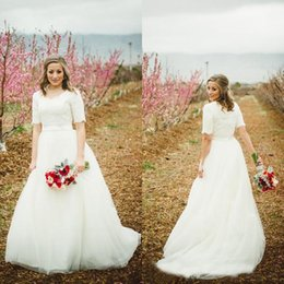Wholesale Quality Dress Shirts Cheap - Modest Wedding Dress with Sleeves New Princess Cheap High Quality Scoop Neck Short Sleeves Lace Top Princess Bridal Gown with Sash