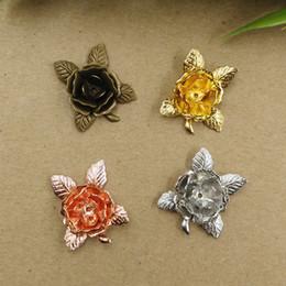 Canada 07271 20mm bronze antique argent rose or pistolet noir filigrane fleur chapeaux de perles, métal 3D fabrication de bijoux Constatations accessoires de composants Offre
