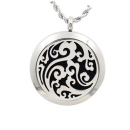 Wholesale Magnetic Heart Pendant Necklace - 2017 New Style 20mm 25 mm 30mm Silver magnetic Solid Perfume locket with Filigree Floating Locket 316L Stainless Steel With Felt Pads