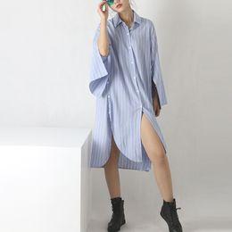 Wholesale Korea New Style Blouse - Korea Style Spring Autumn New Fashion Shirt Oversize White Blue Shirt Long-sleeved Stripe Loose Long Shirt Blouse