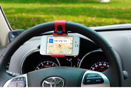 2019 suporte de direção de carro Universal Car Steering Wheel Cradle suporte do telefone móvel Clipe Car Bike Mount Stand Flexível suporte Do Telefone estender a 86mm para iphon6 plus desconto suporte de direção de carro