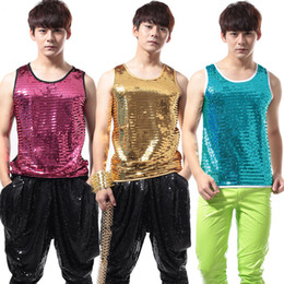 Wholesale Yellow Sequin Tank Tops - Wholesale- Nightclub Male Singer Sequins slim tank tops Fashion Men's Rock and Punk Style Club DJ stage show performance costumes