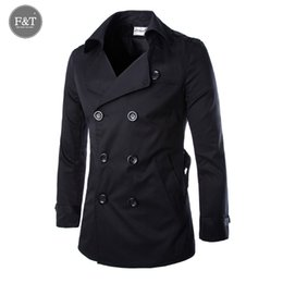 Wholesale Trench Coat Men Waist - Wholesale- [Asian Size] New Fashion Men Solid Slim Trench Coat England Style Long Jacket Overcoat Double Breasted with Sashes Party Wear