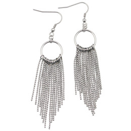 Wholesale Ball Jewellry - Ball Chain Earring Bohemia Women Silver Color Long Tassels Earrings Jewellry Silver Long Bead Chain Earrings for Women
