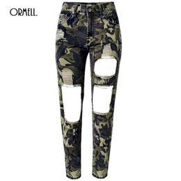 Wholesale Camouflage Leggins - Wholesale- ORMELL Women Jeans Skinny Pencil Hole Pants Ripped Denim Camouflage Female Slim Trousers Summer Leggins Cotton High Elastic
