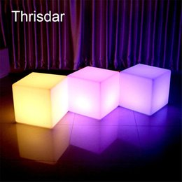 Wholesale Outdoor Led Chair - Wholesale- RGB Rechargeable Led illuminated Furniture Remote Control Outdoor Led Cube Chair bar KTV Pub Plastic Tables lighting AC80-265V