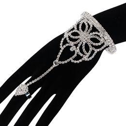 Wholesale Crystal Wedding Harness - Ecesha Rhinestone Hand Harness Slave Chain Link Finger Cuff Bracelet Manchette Femme Hollow Flower Crystal Bangles love jewlery
