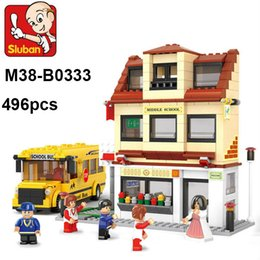 Wholesale Plastic School Bus Toy - Lepin toy Sluban M38-B0333 Building Blocks 496pcs School bus 3D building blocks sets,children's city bus toys educational construction brick