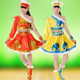 Wholesale Dancing Skirt Hot - Hot sale children's national costume Mongolian skirt masquerade costume Kids Clothing Cosplay dance costume free shopping