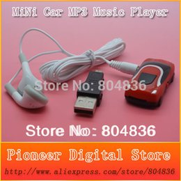 Wholesale Tf Voice Recorder - Wholesale- Free shipping hot sale 10 pcs lot mini car style mp3 music player support Micro SD TF card with earphone&mini usb 6 colors