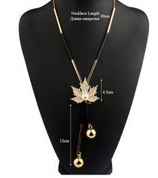 Wholesale Office Filling - VIVILADY Lovely Maple Leaf Long Beaded Chain Tassel Pendant Necklace Women Office Lady Imitation Pearl Jewelry Bijoux Gifts