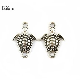 Wholesale Vintage Jewelry Connector - BoYuTe (100 Pieces Lot) 13*19MM Zinc Alloy Antique Silver Plated Sea Turtle Connector Vintage Bracelet Charms Pendant for Jewelry Findings