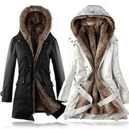 Wholesale Double Hooded Jacket - 3XL new women's windbreaker jacket european long slim women's windbreaker long sleeved jacket fur thickened Female H104
