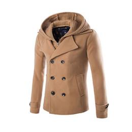 Wholesale Long Camel Coat Men - Wholesale- Top Design Men Woolen Jacket Coats Camel Detachable Hat Hoodie Homme Overcoat Fashion Autumn 3 Color Warm England Slim Pea Coat
