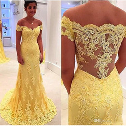 Wholesale Womens Short Prom Dresses - Yellow Lace Mermaid Prom Dress Vestidos 2017 Off Shoulder Lace Appliques Evening Gowns Womens Formal Party Dress Plus Size