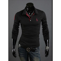 stylish polo men Coupons - Fashion Polo Shirt For Men Fawn Embroidery Luxury Casual Slim Fit Stylish T Shirt With Long Sleeve free shipping