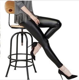 Wholesale Leggins Leather Size L - Wholesale- My Wardrode Plus Size Shiny legins Metallic Elasticity Black Stretchy leggins Faux Leather Jeans Leggings Pants S M L XL