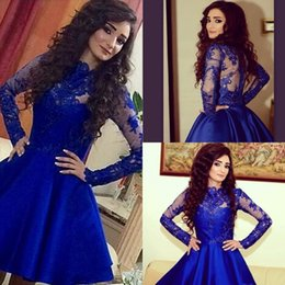 Wholesale Kleider Prom - Royal Blue Short Lace Homecoming Dresses ALine Appliques Long Sleeves High Neck Satin Sexy Sweet 16 Party Cocktail Dress Prom Gowns Kleider