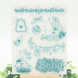 Wholesale Scrapbooking For Baby - Wholesale- Baby and Bird design Transparent Clear Silicone Stamps for DIY Scrapbooking Card Making Kids Christmas Fun Decoration Supplies