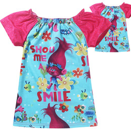 Wholesale Girls Summer Christmas Clothes - Trolls Poppy Kids Short T-shirt Printed Summer Clothes Cartoon Tee Top Christmas Gifts Colorful Girl Children Garments