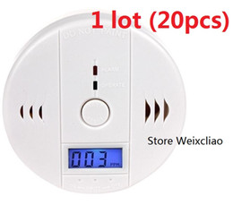 Wholesale Lcd Smoking - 20pcs 1 lot With Batteries CO Carbon Monoxide Alarm Detector Poisoning Gas Smoke Sensor Home Use Easy To Install Sound LCD Free Shipping