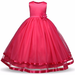 Wholesale Wholesale Pageant Gowns Girls - Flower Girls Dresses Children Princess Pageant Formal Wedding Dress Party Kids Clothes Girls Long Dress Bridesmaid Ball Gown