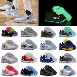 Wholesale Brown School Shoes - Newest Zoom KD 10 Anniversary PE Oreo Red MVP Men Basketball Shoes KD 10 X Elite Low Kevin Durant Grade School Sport Sneakers