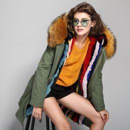 Wholesale Dark Blue Women Fur Coat - 2017 New Fashion Women's Army Green Large Raccoon Fur Collar Hooded Long Coat Parkas Outwear Rabbit Fur Lining Winter Jacket Warm Overcoat