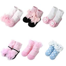 Wholesale Newborn Ankle Socks - Baby Socks 3D Lace Princess Ankle Toddler Floor Spring Summer Cotton Newborn Stripe Polka Dot Girls Hosiery Infant Cute