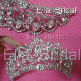 Wholesale Headband Pageant Crown - Factory Real Photo Vintage Wedding Tiara Crowns Crystal Bridal Hair Jewelry Rhinestone Pageant Prom Headband Bridesmaid Wedding Accessories