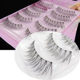 Wholesale Cutting False Eyelashes - 5 pairs of natural false eyelashes long cross cut cut sharp tail winged false eyelashes handmade make-up transparent eyelashes