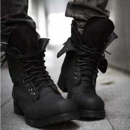 Wholesale Style Leather Mens Boot - Mens British Style Mid-Calf Military Combat Boots Lace Up Low Heel Army Fashion Shoes 2Colors Knight New ZKA1059