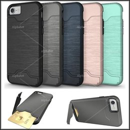 Wholesale Hard Plastic Credit Card Case - 5 colors 2 in 1 Credit Card Slot Case For iPhone 7 Plus 6 plus Armor case hard shell back cover with kickstand case with opp package