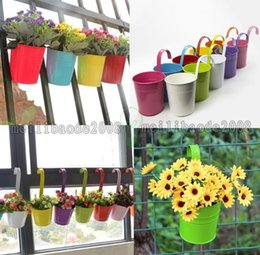 Wholesale Metal Wall Flower Planters - NEW 10 Colors Home Garden Metal Flower Pot Hanging Balcony Plant Planter Home Decor MYY